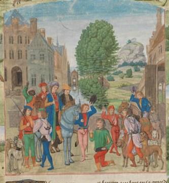 Lodewijk van Gruuthuse vertrekt op de jacht Genève, Bibliothèque de Genève, Ms. fr. 169, p. 1r – Gaston Phébus, Le Livre de la chasse (http://www.e-codices.unifr.ch/fr/list/one/bge/fr0169)