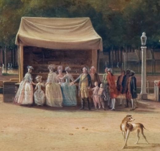 Detail uit Bezoek van de stadhouderlijke familie aan de Haagse kermis, Hendrik Pothoven 1781, Haags Historisch Museum
