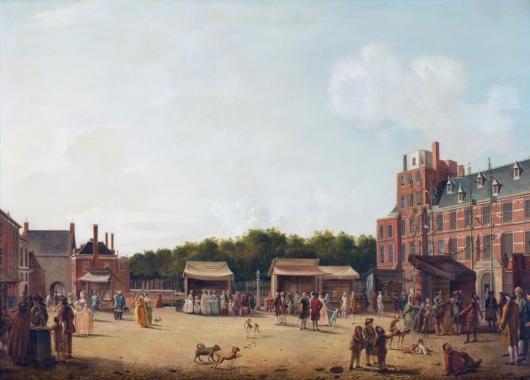 Het buitenhof tijdens de haagse kermis met Willem V, Cupido en Cedron door Hendrik Pothoven