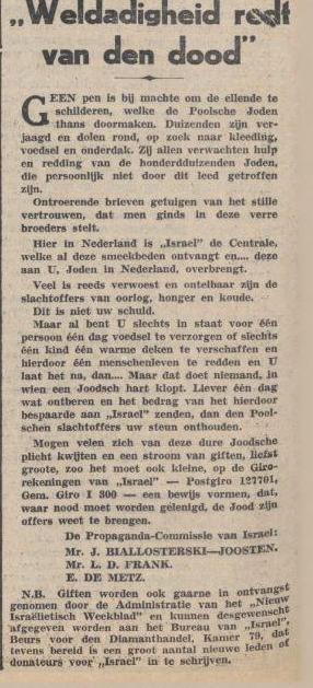 1939 Redt de Poose Joden Bialloterski - Joosten