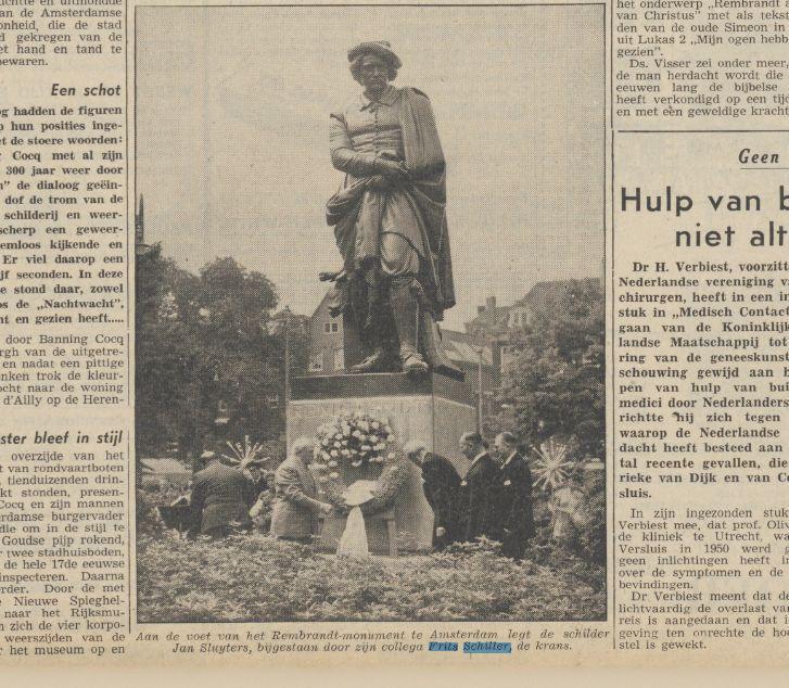 16-07-1956, Dag Frits Schiller en Jan Sluijters bij Rembrandt