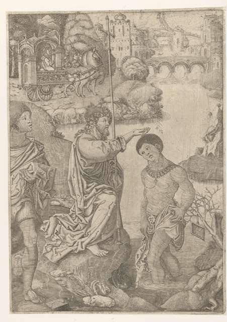 Doop van de kamerling, Monogrammist AC (16e eeuw), 1524 Collection Rijksmuseum Amsterdam