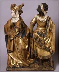 Vrouwelijke heilig met Romeinse soldaat ca 1520, Antwerpen, KMSK Brussel