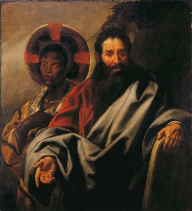 Jacob Jordaens, Mozes en zijn Ethiopische vrouw. 1650; olieverf op doek Rubenshuis, Antwerpen Collectiebeleid.