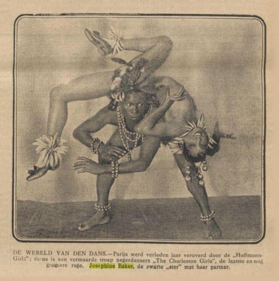 Josephine Baker and her partner in Dutch newspaper 1925