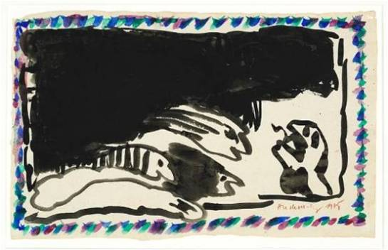 Alechinsky . 1975. Aquarel op papier, 27 x 44 cm. Collectie Ambassade Hotel