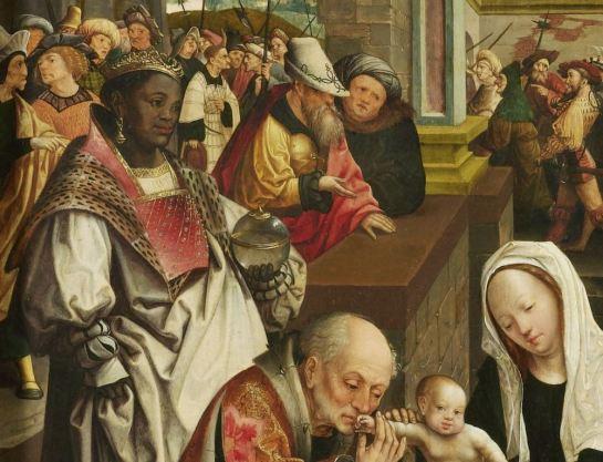De aanbidding van de drie koningen, Jacob Cornelisz. van Oostsanen, 1517 SK-A-4706 collectie Rijksmuseum detail