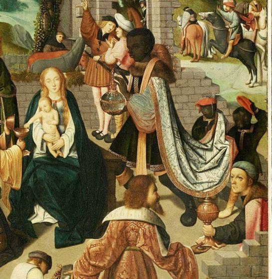 Drieluik met de aanbidding der koningen middenpaneel en binnenzijde vleugels  toegeschreven aan Meester van Alkmaar, ca. 1500 - ca. 1504SK-C-1364 collectie Rijksmuseum detail