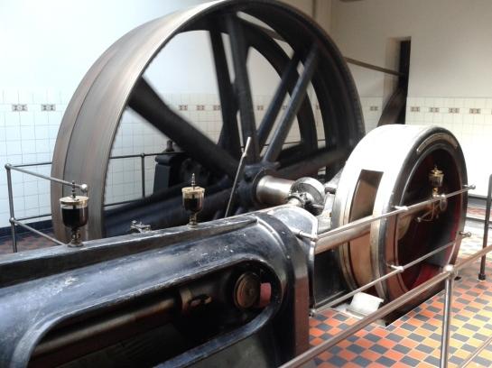 Textiel Museum werkende stoommachine