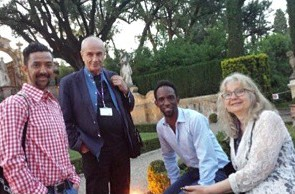 Opening conf foto door Nancy Jouwe met Jörgen Tjon a Fong,  Rob Perree, Charl Landvreugd en ik