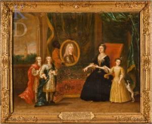 Henriette van Nassau Zuylestein (1688-1759) met haar drie kinderen middachten