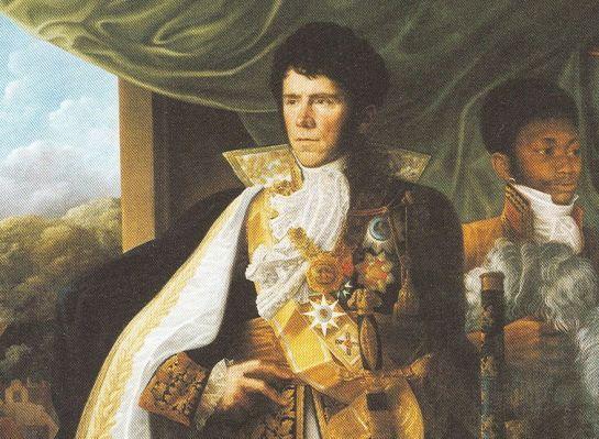 Graaf_Dumonceau_met_keten_van_de_Orde_van_de_Unie Dumonceau met de keten van de Orde van de Unie en het grootlint van de Huisorde van de Trouw van Baden. In zijn hand houdt hij zijn maarschalkss