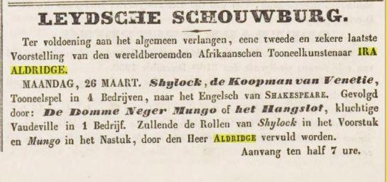 23-3-1855 Ira Aldridge in Leiden