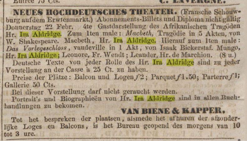 Ira Aldridge 22-2-1855