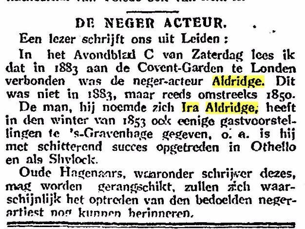 Ira Aldridge in Den Haag in 1853 Othello
