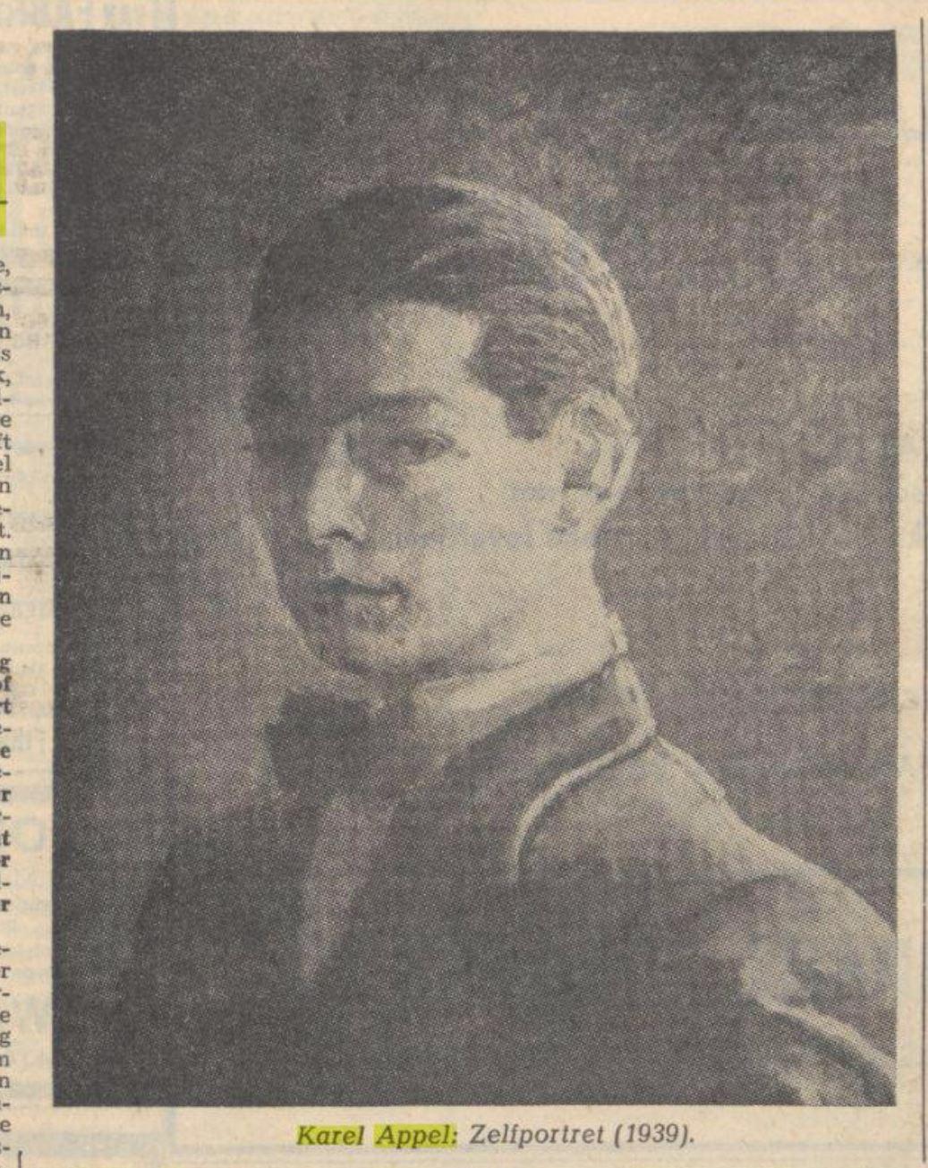 Karel Appel Zelfportret krant 1964