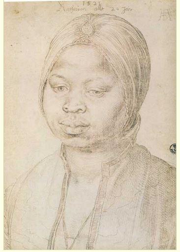 Albrecht Durer 1471 1528 zwarte bediend slaaf in Antwerpen in 1521