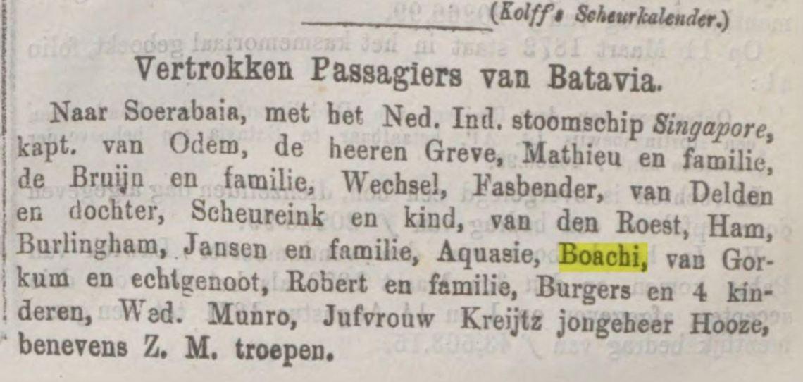 Java-bode 25-6-1874 vertrek naar Soerabaia