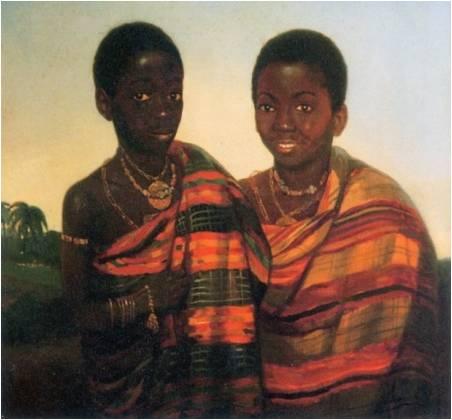 De prinsen Aquasi Boachi en Kwame Poko door Jacobus Ludovicus Cornet ca 1840