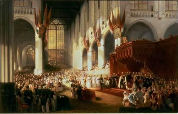 Inhuldiging Willem II in de Nieuwe Kerk in Amsterdam 1840 Nicolaas Pieneman coll Het Loo detail met Aquasi Boachi en Kwame Poku