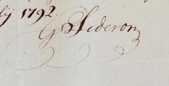 Uitsnede handtekening Sideron 1792 voor site