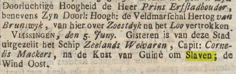 Kranten bericht over Willem V en halen van slaven 1765