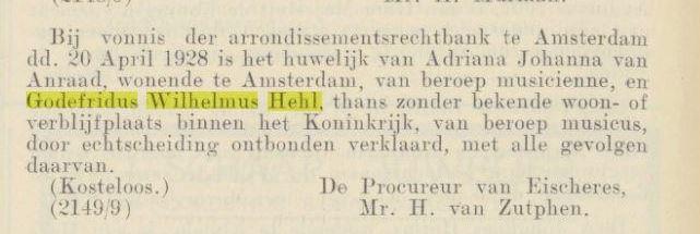 Anraad Hehl scheiding