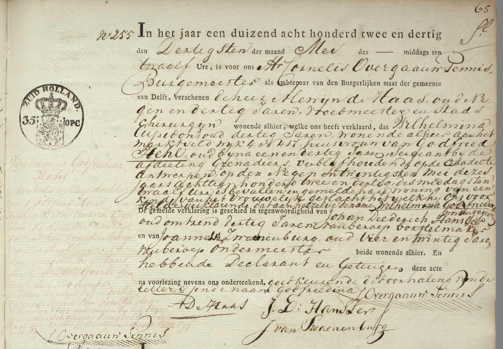 geboorte Wilhelmina Godefridina Hehl in Delft 1832 detail