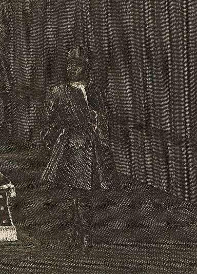 Willem IV op praalbed met zwarte bediende RP-P-OB-84.197