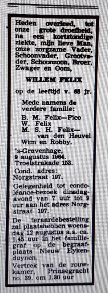 Wim Felix overlijdens advertentie Haagse courant