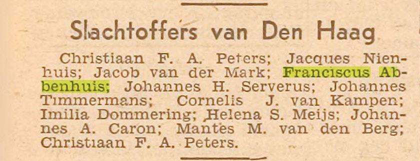 29-3-1945 Franciscus Abbenhuis