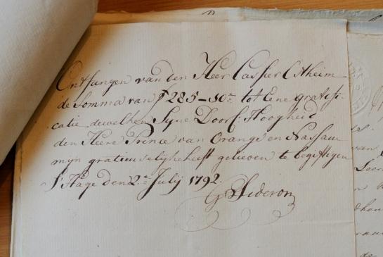 Sideron 1792 ontvangen 285 van Willem V