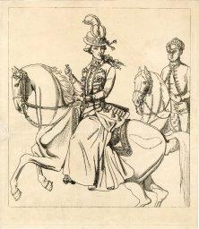Wilhelmina van Pruisen en een zwarte begeleider, waarschijnlijk Sideron. Diverse collecties