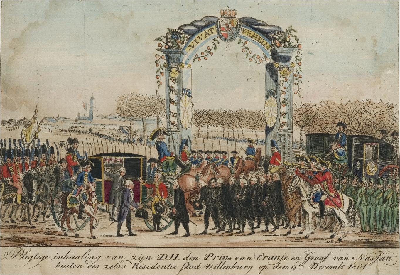 Inhuldiging van de prins van Oranje in Dillenburg op 9 december 1801. Achter op de koets is Cupido te zien, die een paar weken later in Dillenburg trouwt. Atlas van Stolk Rotterdam