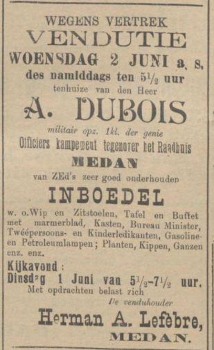 1909 vertrek fam Dubois uit Medan
