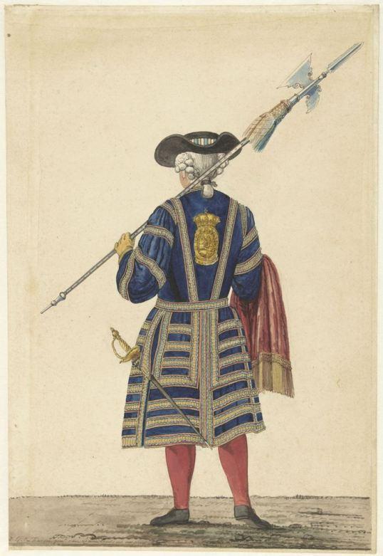 Een hellebaardier, van achteren, Isaac Lodewijk la Fargue van Nieuwland, 1766 RP-T-00-3563