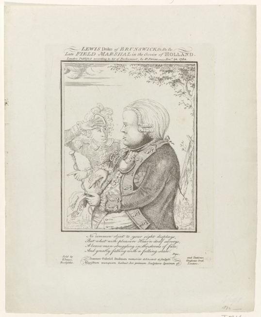John Gabriel Stedman 1784 spotprent Hertog van Brunswijk RP-P-OB-85.362