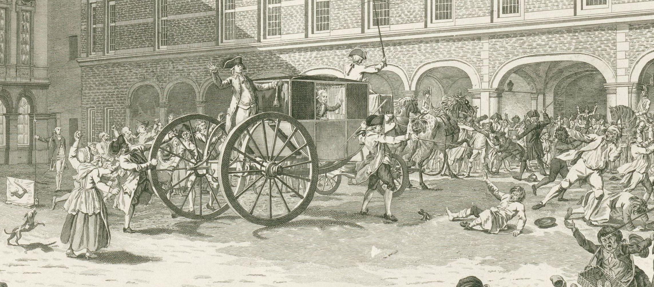 Ongeregeldheden als de Gedeputeerden van Dordrecht door de Stadhouderspoort rijden op het Binnenhof, 1786, Daniël Veelwaard (I), Dirk Schuurman,