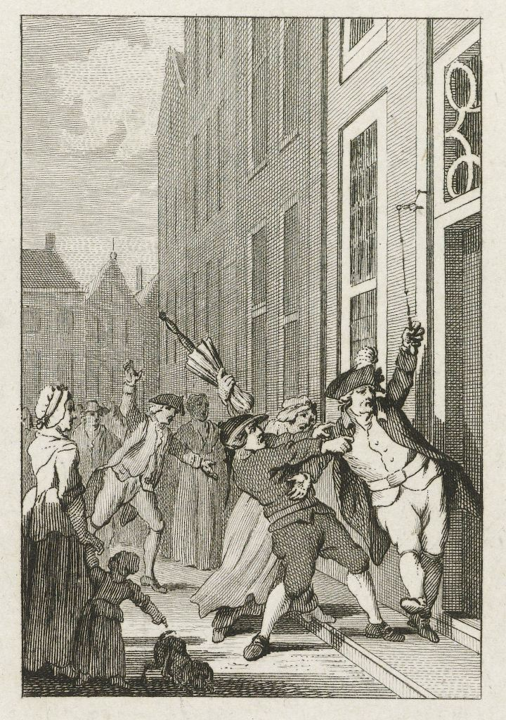 Onrust onder Oranjegezinden in Den Haag, 1785, Reinier Vinkeles (I), naar Jacobus Buys,