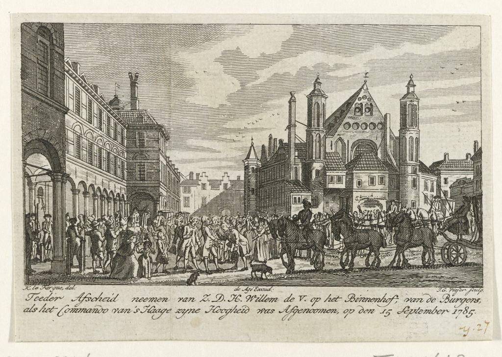 Willem V neemt afscheid nadat hem het commando over Den Haag is afgenomen, 1785, Jan Gerritsz. Visser, De Agé, 1785