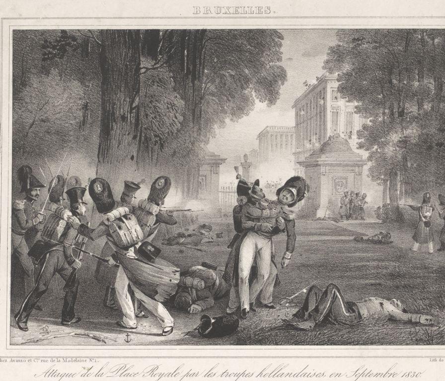 Aanval van Nederlandse troepen op de Place Royale in Brussel, 1830, Pierre Simonau, 1830 - 1831 RP-P-OB-88.132