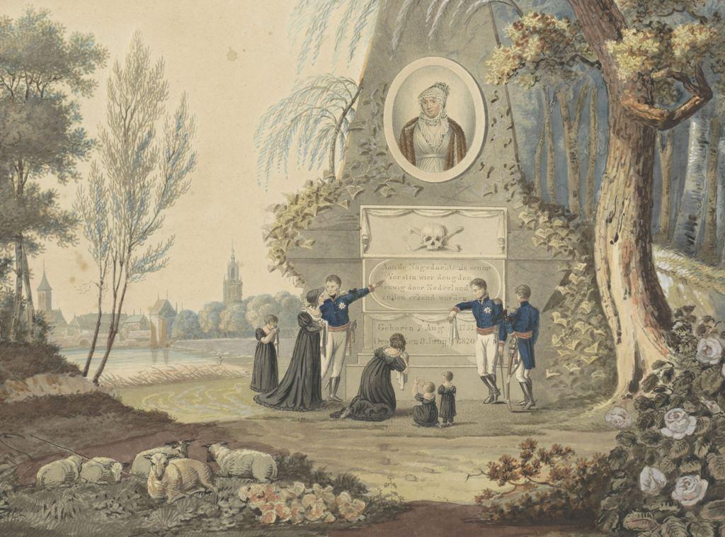 Allegorisch grafmonument voor Wilhelmina van Pruisen, 1820, A. Lutz, naar W. Johnston, 1820. Coll. Rijksmuseum