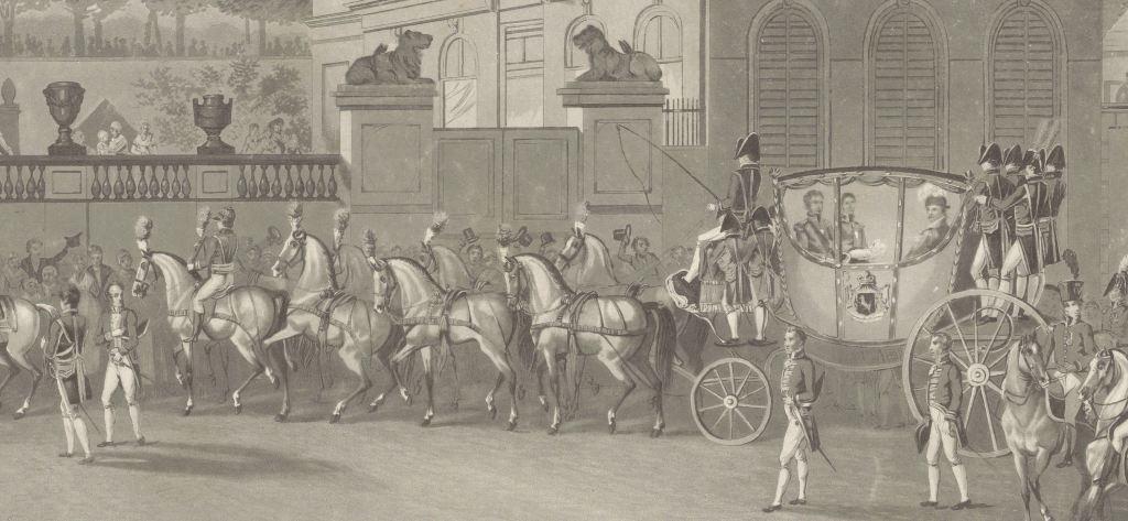 Intocht en inhuldiging van koning Willem I te Brussel, 1815, Philibert-Louis Debucourt, naar Denis-Sebastien Leroy, coll Rijksmuseum