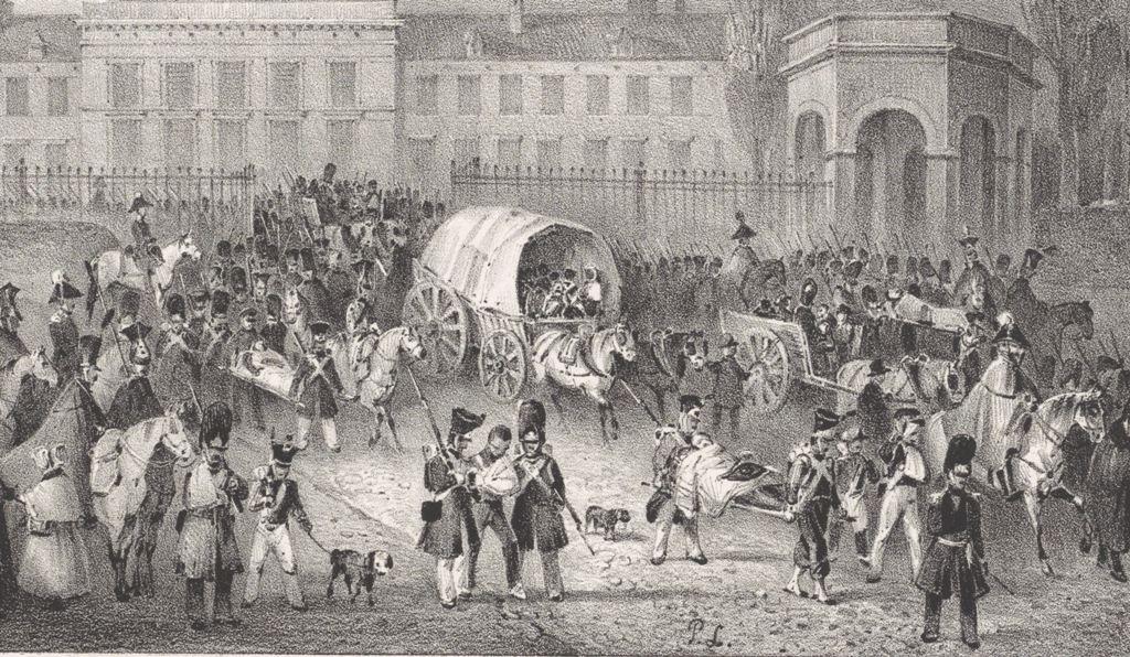 Nederlandse troepen verlaten de stad, 1830