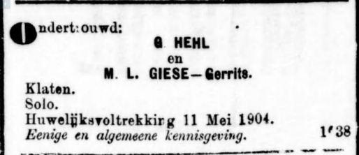 Ondertrouw G Hehl en Gerrits Klaten