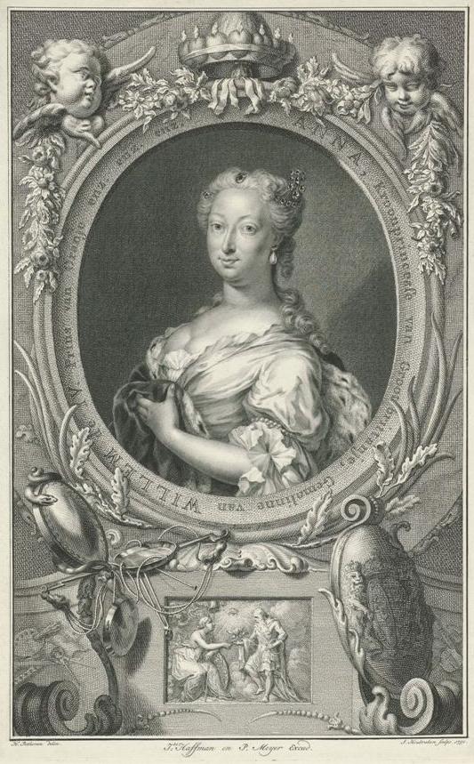 Portret van Anna van Hannover, prinses van Oranje-Nassau, Jacob Houbraken, naar Hendrik Pothoven, 1750, coll. Rijksmuseum