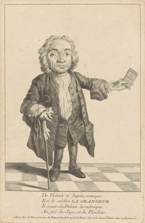 Portret van de dwerg La Grandeur, Jacques-Philippe Le Bas, 1738
