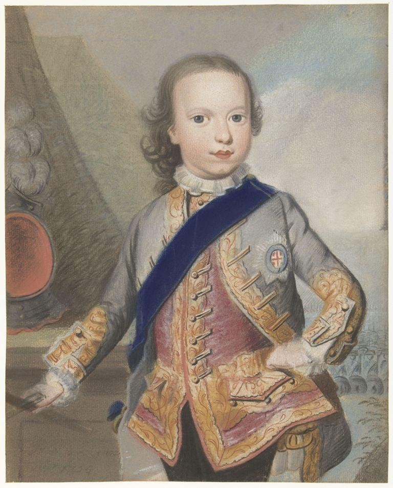 Portret van Willem V, prins van Oranje-Nassau, als kind, Pieter Frederik de la Croix, 1755