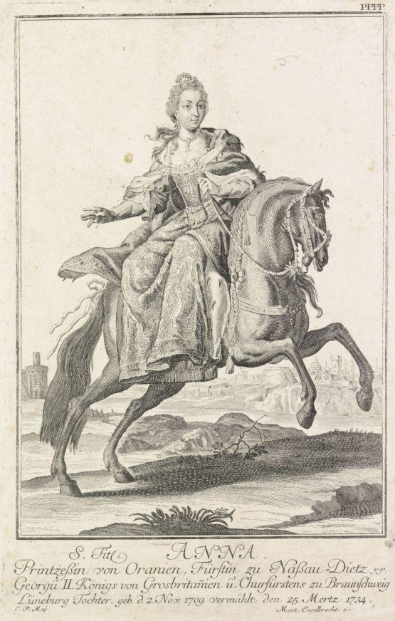 Ruiterportret van Anna van Hannover, C.P. Maj, 1734 - 1799 kleiner RP-P-1910-2198