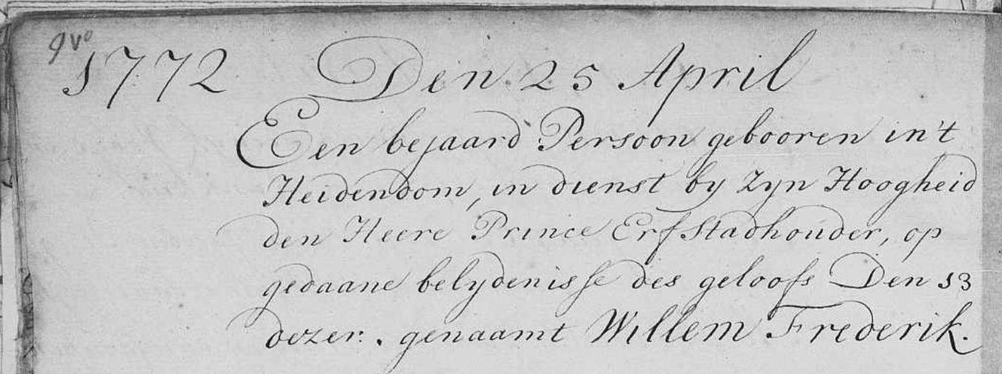 Doop Willem Frederik Cupido in Den Haag 25 april 1772